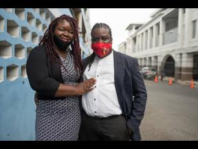 Sherine Virgo and her husband, Dale Virgo, outside the Supreme Court in Kingston on Friday, July 31.