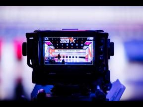 In this February 25 file photo, the monitor of a television camera shows the set stage for a Democratic presidential primary debate, in Charleston, South Carolina.