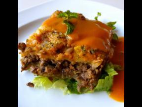 Not Jus' a Salad's famous lentil mushroom veggie lasagna.
