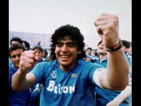 Argentine soccer superstar Diego Armando Maradona cheers after the Napoli team clinched its first Italian major league title in Naples, Italy, on May 10, 1987. Diego Maradona has died. The Argentine soccer great was among the best players ever and who led