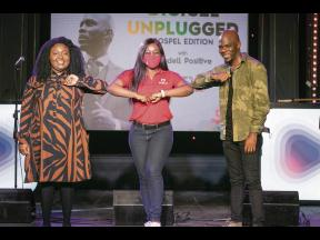 Digicel brand marketing manager, Reshima Kelly-Williams, shares a light moment with Rondell Positive and Rhoda Isabella as they wrap up the Good Friday Unplugged session.