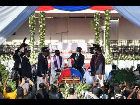 The funeral for slain Haitian President Jovenel Moise at his family home in Cap-Haitien, Haiti, early Friday, July 23, 2021.