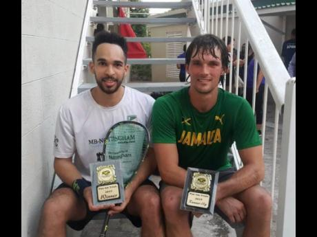 Squash players Lewis Walters (left) and Bruce Burrowes display their awards after qualifying to represent Jamaica at the 2019 Pan American Games after the trials, which were contested between April 10 and 12 at the Liguanea Club in New Kingston.