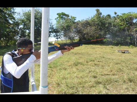David Wong in action at the Savannah Hunting Club Sporting Clays tournament, which took place at the Mount Plenty Estate in St Ann on Sunday.