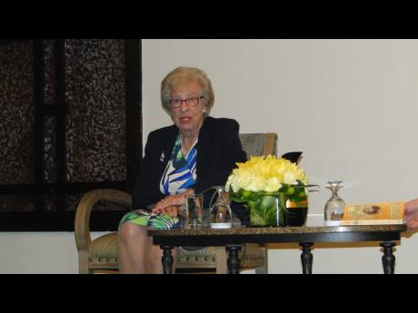 Holocaust survivor Eva Schloss telling her story inside The Jamaica Pegasus on Tuesday, April 2.