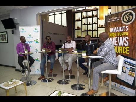 Dad's Outlook panelists (from left) Stevie Barnett, (SME Manager and Team Lead at Sagicor Bank); Wayne Marshall (Recording Artiste); David Morrison (Senior Blender at Appleton Estate Jamaica); Teino Evans (The Gleaner's Enterprise Editor - Lifestyle); and Marlon Campbell (Host).