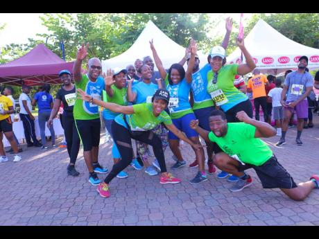 They may not be students anymore, but these Sagicor Group team members were enthusiastic to celebrate the start of summer with the 5K and to win points for the corporate challenge.