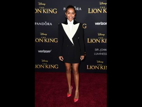Yara Shahidi arrives at the world premiere of 'The Lion King' on Tuesday, July 9, 2019, at the Dolby Theatre in Los Angeles.