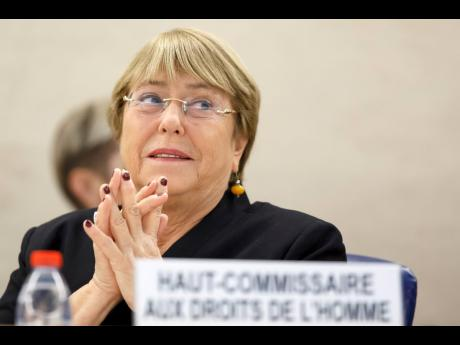 U.N. High Commissioner for Human Rights, Michelle Bachelet, attends the opening of 42nd session of the Human Rights Council at the European headquarters of the United Nations in Geneva, Switzerland, Monday, Sept. 9, 2019. (Salvatore Di Nolfi/Keystone via AP)