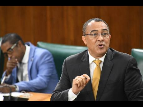 Minister of Health and Wellness Dr Christopher Tufton speaking in the House of Representatives on Tuesday.