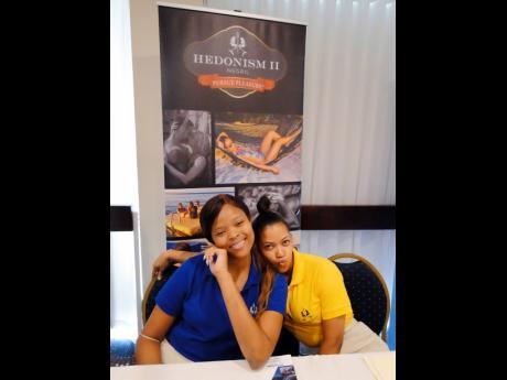 Denice Grant (left) and Shantol Douglas representing Hedonism II at Go! Jamaica Travel Expo 2019.