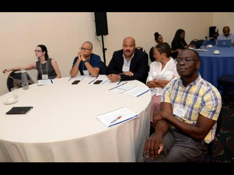 Participants look on during presentations at the African-Caribbean Cancer Consortium Conference at The Jamaica Pegasus last Sunday. The conference was staged to look at cancer in people of African ancestry, because they are more affected by the disease than other races.