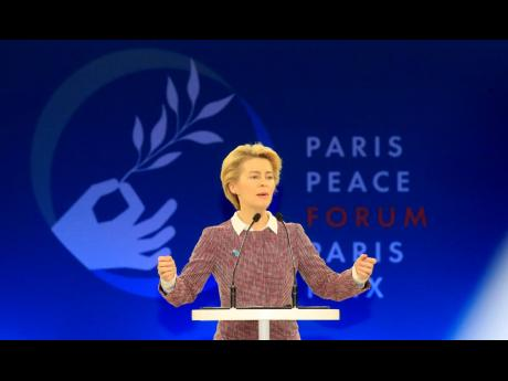 European Commission president Ursula von der Leyen delivers her speech at the start of the Paris Peace Forum Tuesday, November 12, 2019 in Paris.