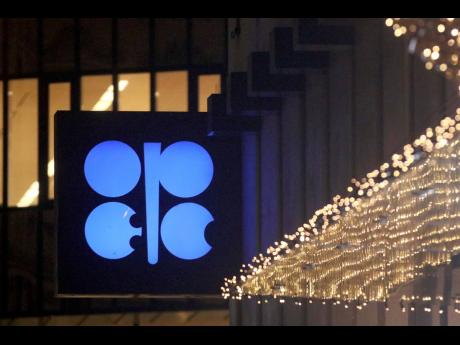 The advertising label for OPEC shines at its headquarters in Vienna, Austria.