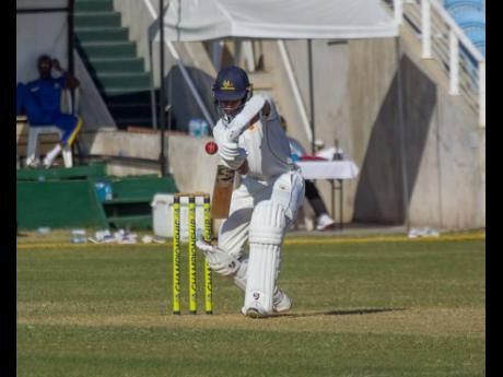 Barbados Pride batsman Shane Dowrich in action during Day Three of the Cricket West Indies Professional Cricket League Regional 4-Day match at Sabina Park in Kingston yesterday.
