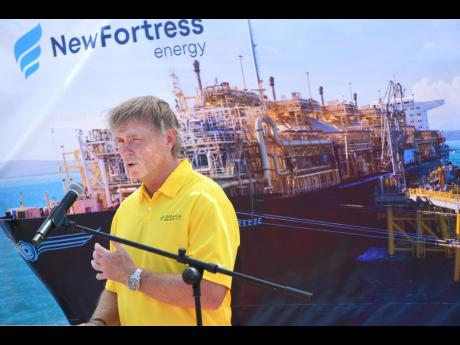 Chairman and CEO of New Fortress Energy Wes Edens speaks at the commissioning of the company's Floating Storage Regasification Terminal in Jamaica in this July 19, 2019 photo.