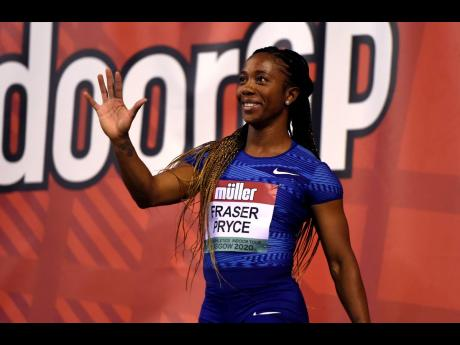 Jamaica's Shelly-Ann Fraser-Pryce celebrates winning the Women's 60m during the Glasgow Indoor Grand Prix in Scotland yesterday.