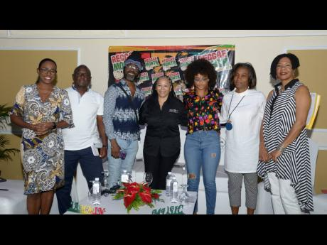From left: Panellists Carlette Deleon, Gussie Clarke, Orville Hall, Andrea Davis, Lila Ike, Gillian Wilkinson-McDaniel, and moderator Dr Stanley Niaah at the Business of Entertainment Symposium at The Terra Nova Hotel, 17 Waterloo Road last month.