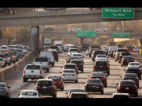 This December 12, 2018 file photo shows traffic on the Hollywood Freeway in Los Angeles.