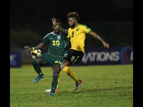 Jamaica's Ricardo Morris in action against Guyana during the Concacaf Nation's League at the Montego Bay Sports Complex Monday, November 18, 2019.