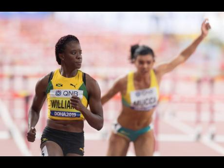 Jamaica's Danielle Williams after completing Heat Three of the women's 100m hurdles at the World Athletics Championships in Doha, Qatar, on Saturday, October 5, 2019.