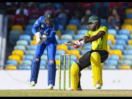 File Jamaica's Damion Jacobs cutting to the boundary during a Group 'B' match between Barbados Pride and Jamaica Scorpions in the 2017 WICB Super50 Tournament.