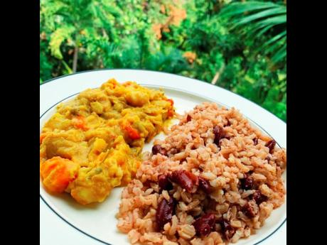 Chakula's King Alpha Broad Beans Stew and Rice and Peas.