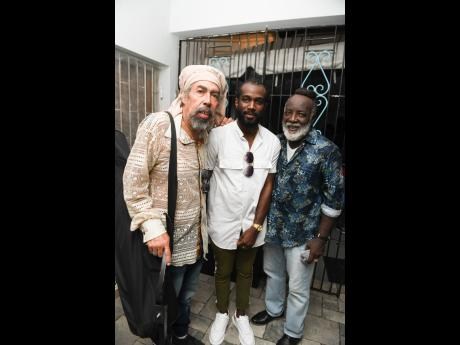 Cat Coore of Third World, Freddie McGregor and son Chino at the virtual concert and birthday party.