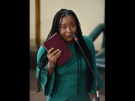 Tova Hamilton as she takes the Oath of Allegiance at the start of the sitting of the Upper House on June 26.