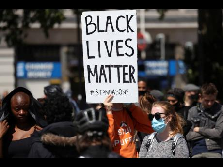 An anti-racism protest in central London on Sunday.  The recent death in America of a black man, George Floyd, continues to prompt protests for an anti-racist agenda across all sectors of society.