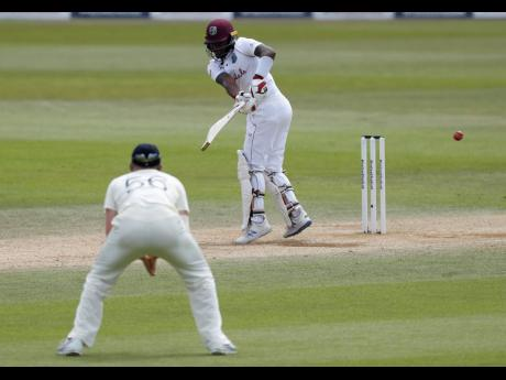 Windies' Jamaican batsman Jermaine Blackwood plays a shot during the fifth day of the first cricket Test match against hosts England at the Ageas Bowl in Southampton yesterday.