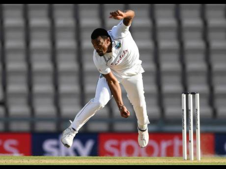 West Indies' Shannon Gabriel bowls during the fourth day of the first cricket Test match between England and West Indies, at the Ageas Bowl in Southampton, England, Saturday, July 11, 2020. ap