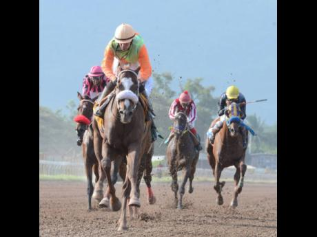 Panamanian jockey Dick Cardenas rides AXLE ROD to victory in the ninth race at Caymanas Park on Saturday, July 7, 2018.
