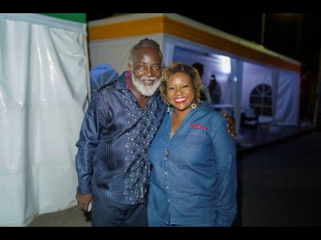 'Big Ship' Freddie McGregor is all smiles backstage with Digicel's Chief Marketing Officer, Nasha-Monique Douglas.