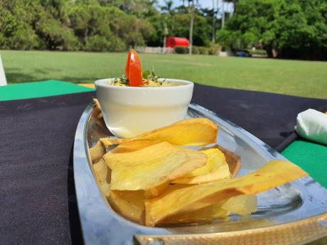 Ackee and salt fish salsa with breadfruit chips.