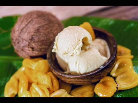Taste the goodness of jackfruit in this scrumptious scoop of ice cream.