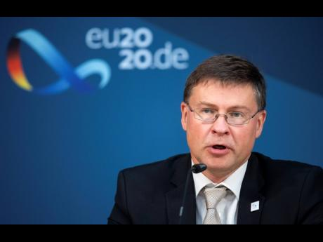 Valdis Dombrovskis, vice-president of the EU Commission, speaks at a press conference in Berlin, Germany, following the informal talks of the EU Trade Ministers on Monday, September 21, 2020.