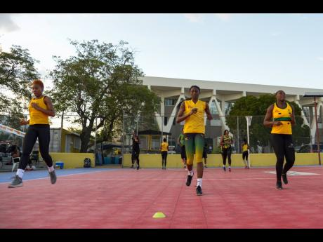Jamaica's Sunshine Girls in a training session at the Leila Robinson Courts on Wednesday, June 5, 2019.