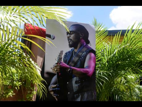 A picture of the late reggae icon Fredrick 'Toots' Hibbert outside Perry's Funeral Home .