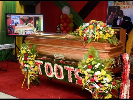 The casket carrying the remains of the late Fredrick 'Toots' Hibbert.