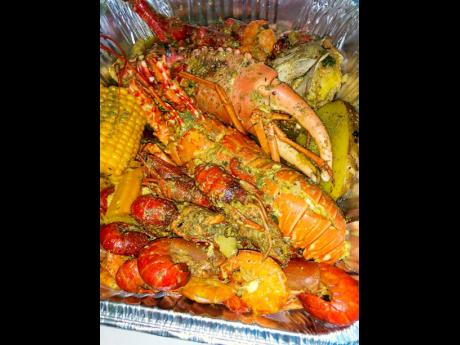 The curried seafood platter