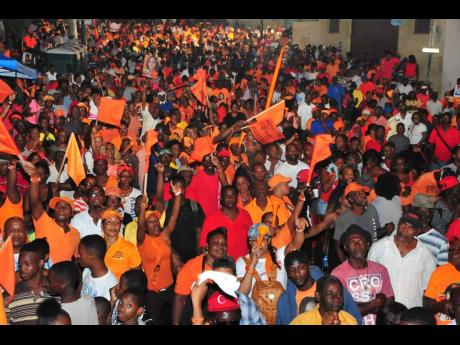 People's National Party supporters revved up in Mount Salem, St James, during a past election campaign.