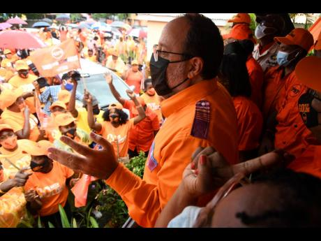People's National Party (PNP) presidential aspirant Mark Golding addresses party supporters yesterday at PNP headquarters, 89 Old Hope Road in Kingston. Scores of persons turned out to support Golding who was nominated to contest the presidential race ag