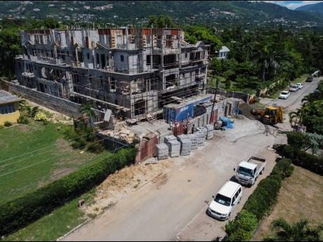 An aerial photograph showing the construction site of a multi-storey development at 9 Evans Avenue in St Andrew on Friday. September 25, 2020. Work at the premises was halted by the Kingston and St Andrew Municipal Corporation.