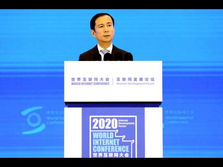Daniel Zhang, chairman and CEO of Alibaba Group, delivers a speech at the World Internet Conference in Wuzhen in east China's Zhejiang province on Monday, November 23, 2020.