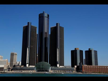 A general view of the Renaissance Center, headquarters for General Motors, in Detroit.