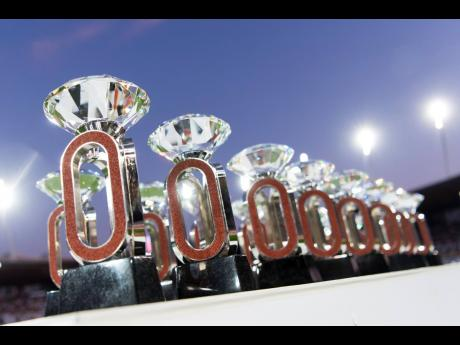 The Diamond League trophies are seen during the Weltklasse IAAF Diamond League international athletics meeting in the Stadion Letzigrund in Zurich, Switzerland, last August.