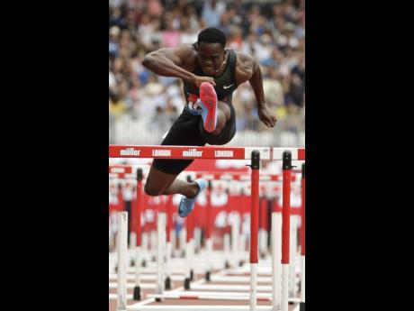 Jamaica's Ronald Levy competes in the men's 110 metres hurdles at the IAAF Diamond League athletics meeting at the London  Stadium, England, in July 2018.