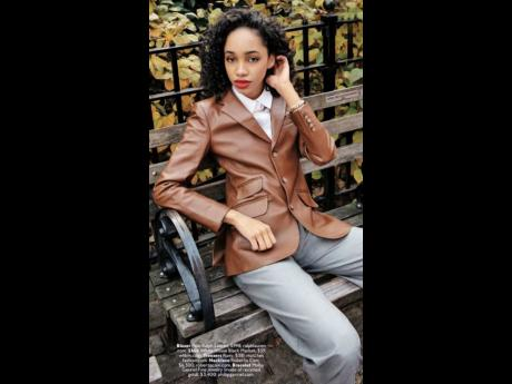 Daniella Davis was the first to feature in the magazine this year, exuding cool chic in fitted leather jackets on parks benches in Central Park in a 'Leather to Weather' feature.  Contributed Photos