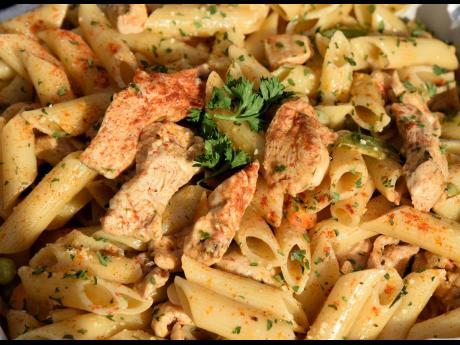 Pasta lovers will enjoy the spicy chicken penne Alfredo.